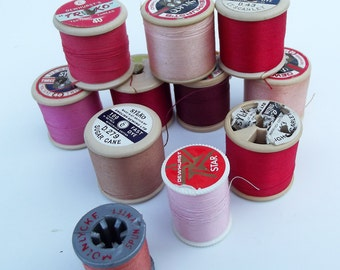 Vintage Pinks and Reds Sewing Threads - instant collection - Craft Supplies