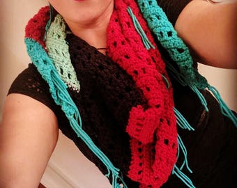 Crochet Color Block Scarf with Fringe - Ready to Ship