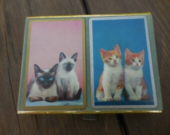 Vintage 1950s to 1970s Double Deck of Playing Cards Kittens Orange and White/Siamese Cats by Congress Like New Retro Collectible