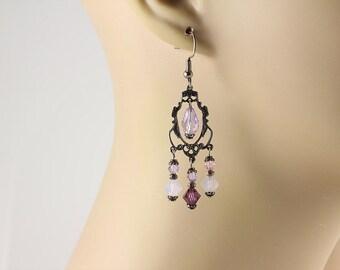 Purple Chandelier Earrings, Swarovski Earrings, Crystal Earrings, Purple Earrings, Chandelier Earrings,