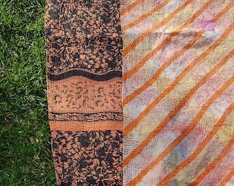 RHIYA - contemporary patchwork KANTHA blanket twin bed cover / bohemian bedding THROW coral tablecloth picnic rug / Maharaja