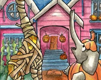 PRINT Trick or Treat Halloween Giraffe Elephant cute whimsical wall art 4 x 6 inches - ART PRINT Watercolor - Katie Hone