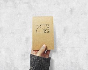 The Golden Ratio Notebook - Math and Geometry Field Journal - Geometric Minimal Kraft Pocket Sketchbook