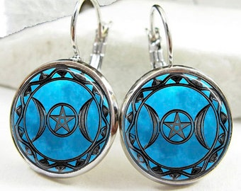 Triple Moon Goddess Earrings, Blue Moon Triple Moon Goddess Earrings, Triple Moon Goddess Jewelry (ER0299)