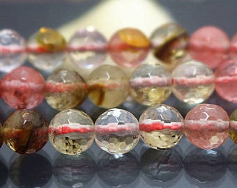 "Natural Cherry Quartz beads, 128 Faceted Round Beads, Cherry Quartz Beads, 6mm 8mm 10mm 12mm 15"""