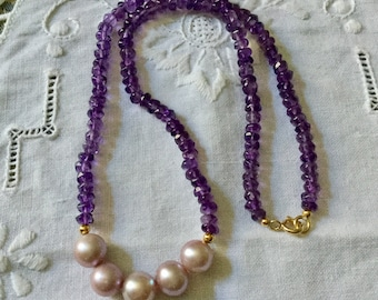 Vintage Unique AMETHYST Rose GOLD PEARL & Sterling Necklace - Splendid Natural Amethyst - Rose - Pearl Luxury necklace-from France