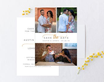 Wedding Save the Date Card with Photos, Save the date card, custom save the date card