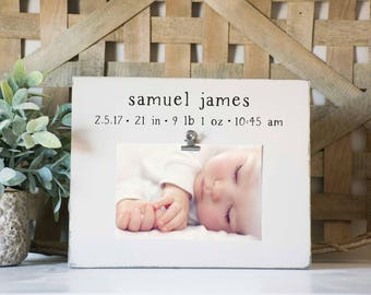 Birth Stats Picture Frame Sign, Newborn picture frame, new baby gift, hospital photo, baby shower gift, birth stats sign, engraved wood
