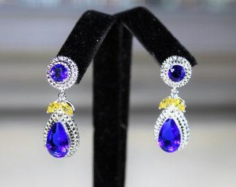 Blue topaz and citrine earrings, drop earrings, blue earrings, gemstone earrings, dangle earrings, gift for her