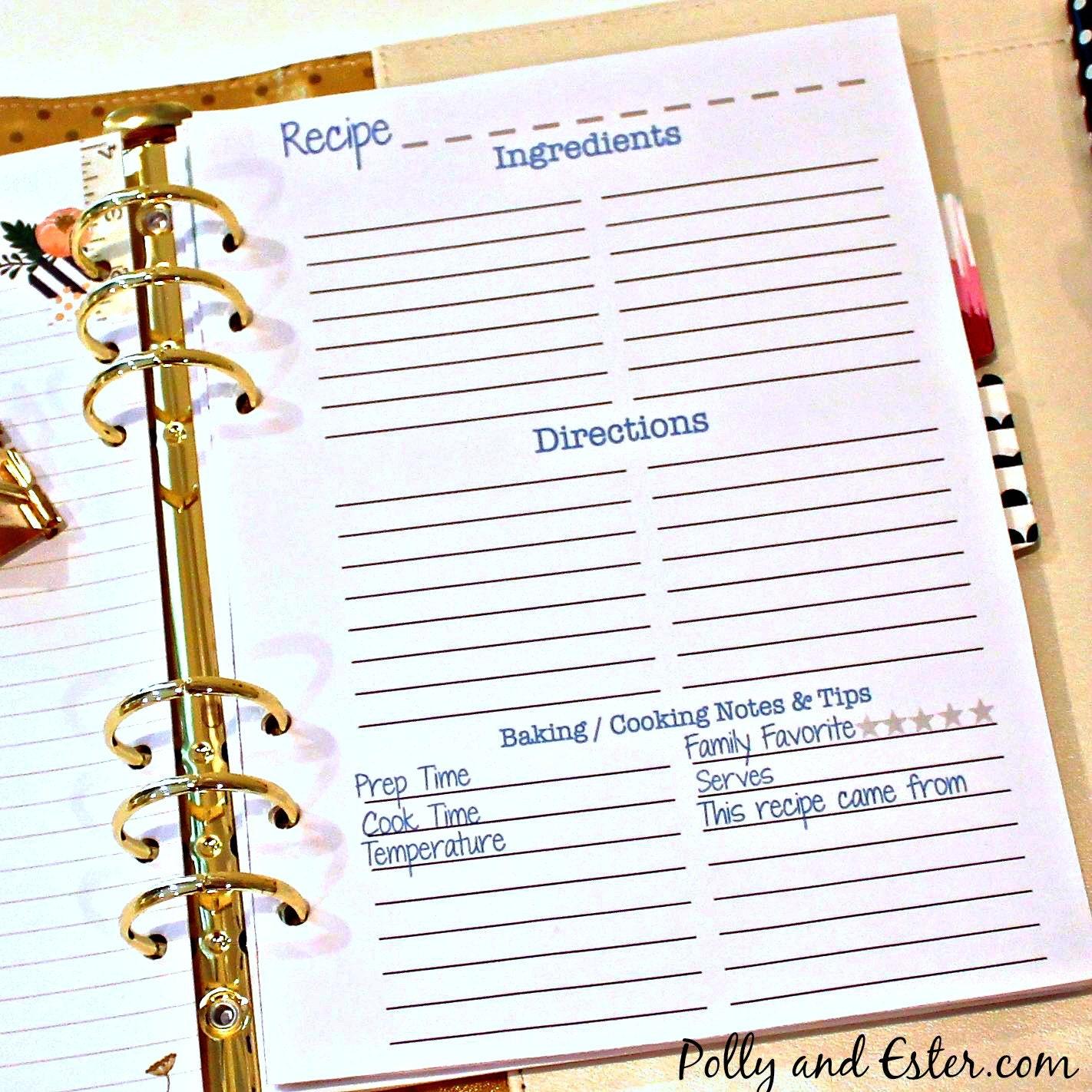 RECIPE PAGE INSERTS Recipe Binder Organizer Book Recipe
