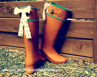 Tan Riding Rain Boot with Bow