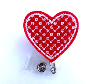 Valentines Day Badge Reel ID Holder Retractable - motif Heart - red felt with white - nurse badge reel medical badge reel