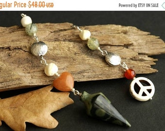 MOTHERS DAY SALE Kambaba Jasper Pendulum. Gemstone Pendulum with Mother of Pearl, Carnelian Agate, Prehnite, and White Howlite. New Age Divi