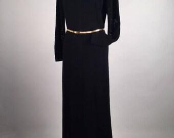 "Vintage 70s Womens Black Knit Long Sleeve Maxi Dress,  B 38-40"", HIgh Neck Gown, Minimalist Fashion, Goth Style, Boho Festival Clothing"