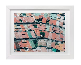Aerial Photography, Colorful Rooftops in Costa Rica, Abstract Landscape Print, Abstract Photography, Costa Rica Art, Custom Sizes Available