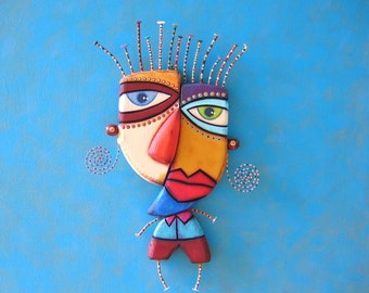 Pablo, MADE to ORDER, Original Found Object Wall Sculpture, Wood Carving, Wall Decor by Fig Jam Studio