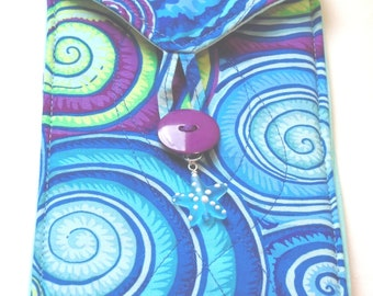 Seashells handmade quilted bag for tarot cards oracle cards or runes blue magenta green sea glass star
