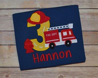 Fire truck birthday shirt, fireman birthday party, toddler birthday outfit, first birthday outfit, boys birthday shirt, rescue vehicle shirt