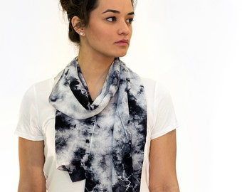 Grey and Black Abstract Organic Hand Dyed Shibori Crepe de Chine Silk  Women's Scarf - 430