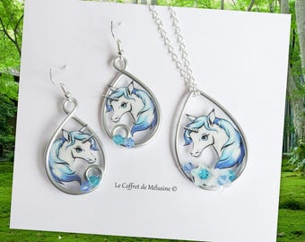 Necklace and earrings blue white Unicorn