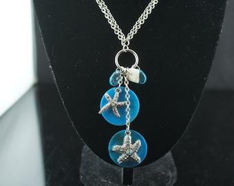 Necklace chain charm Vintage Art Deco  silver tone  charms pendant button disk starfish blue stones a122