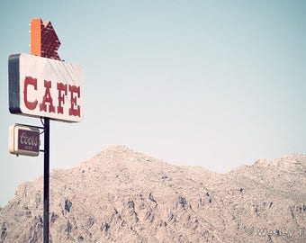 Picacho Peak Cafe - Roadside Diner Sign Photograph