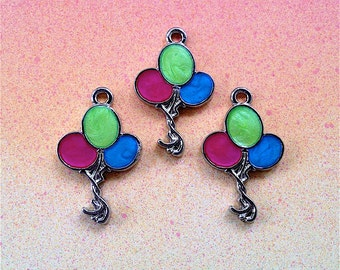 Enameled/Painted/Colored Balloon Charms --4 pieces-(Nickel Plated)--style 920-