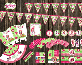 HOT PRICE -90%! SALE! Strawberry shortcake Birthday Party Pack, Sharlotta Digital Printable set, party supplies, cupcake toppers, big banner