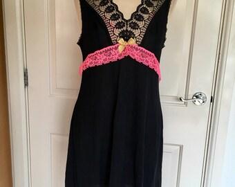 Black and neon pink vintage slip dress 12-14 upcycled