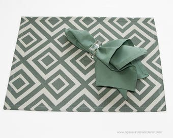Placemats in Sage and Natural with a Geometric Pattern, Set of Four Placemats in Sage and Natural