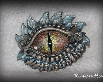 Dragons Eye Pendant - Polymer Clay & Hand Painted Glass Cabochon