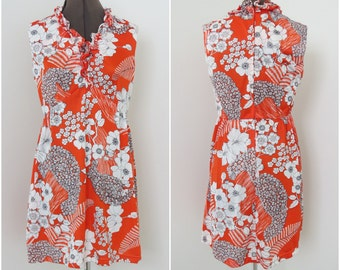 Vintage 1970s Orange Hawaiian Floral Sleeveless Nylon Mini Dress - Womens Bust 36 Waist 30 (B1)