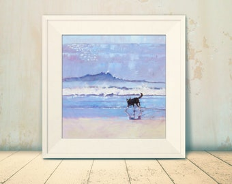 """Pet Art Print.  12"""" x 12"""" or 16"""" x 16"""" """" Grace the Border Collie Encounters a Wave.""""  Beach Painting. Seaside Wall Art. Giclee Print"""