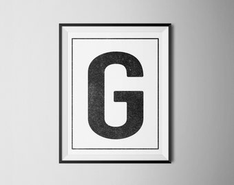 INSTANT DOWNLOAD Letter G Printable Monogram, art print 8x10