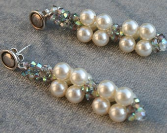 Hand-made earrings in Italy, Swarovski crystals and pearls-boho style