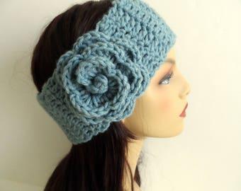 Womens flower headband, crochet head wrap, adjustable ear warmer with button closure, handmade head band, blue