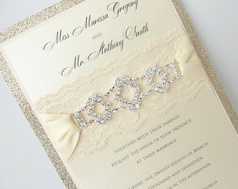 Elegant Wedding Invitation Elegant Invitation, Classic Lace Wedding Invitation, GLITZ 1 VERTICAL