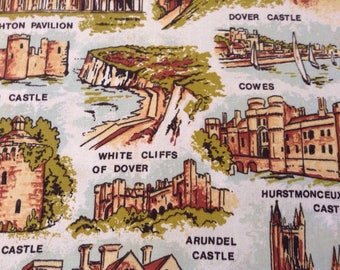 Vintage Linen Tea Towel / South of England