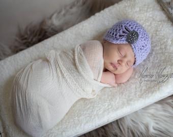 Crochet Cloche Hat in Lilac - choose your own brooch - winter hats for women - winter hats for girls - crochet flapper hats