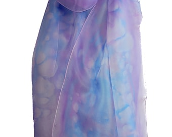 Purple silk scarf, Silk scarf handpainted, 12th anniversary, summer scarf, lightweight scarf, spring scarf, hand painted silk scarf