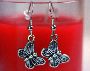 Silver Butterfly Charm Earrings - Girls Dress Up Jewelry - small earrings - Girls Fashion Accessories - Great Gift Ideas