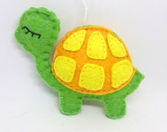 Felt turtle ornament for home decor animals kids room nursery idea gift for her party supplies baby shower for girls for boys