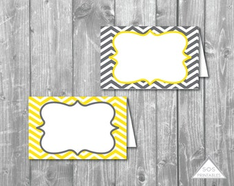 Gray and Yellow Chevron Tent Labels, Buffet Cards, Editable Labels,  Printable Name Cards, Printable PDF,  Instant Download, Editable PDF