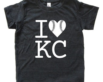 Royal Baseball - I Love Kansas City Baseball Tshirt - Kids Shirt - Youth Boy or Girl Shirt Size 2, 4, 6, 8, 10, 12 KC Super Soft Kids Tee
