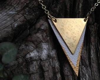 Leather & Copper Triangle Necklace