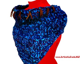 Cowl Scarf, Leather Trim, Infinity Scarf, Oversized Scarf, Winter Accessories, Chunky Scarf, Hippie Clothes, Winter Festival, Fairy, Boho