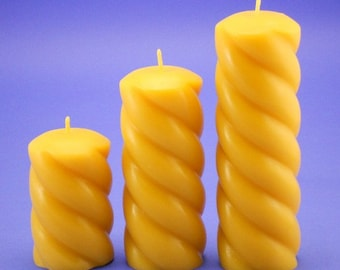 Set of Beeswax Candle Pillars,100% Pure Beeswax Spiral Candles, Organic Beeswax Cappings Candles, Gift Ideas for Women