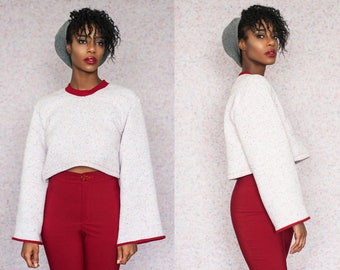 Fleece Lined Confetti Dot Cropped Sweater XS S M L XL XXL