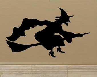 wall decal Flying witch silhouette D2 halloween decal halloween decor witch decal witch broom home decor living room decal entry decal decor