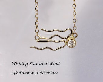 Sale - Wishing Star and Wind Gold and Diamond Celestial Necklace - Ready to Ship ~ Free Domestic Shipping